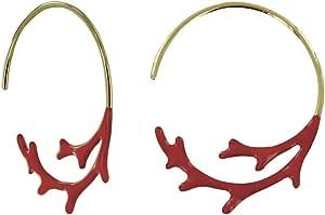Gioelli Les Poulettes - Orecchini Placcato Oro Mezza Creoli Corallo Smaltato Rosso