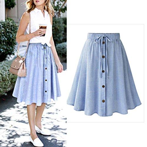 ❤️ Women Skirt, Xinantime Ladies Summer Stripe Lace Single-breasted High Waist Plain Skater Flared Skirt