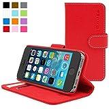 iPhone 5 / 5s Hülle (Rot), SnuggTM - Flip Case mit lebenslanger Garantie + Kartenfächern & Standfunktion
