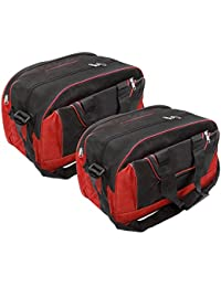Storite Nylon Duffel Bag for Travel, Luggage, Storage with Adjustable Strap(Red, 16x9x18 inch Inches) - Pack of 2