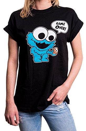 Coole Sachen für Jugendliche Mädchen - Cookie Monster T-Shirt Übergröße Oversize Longshirt weit geschnitten schwarz (Shirt Cookie T Monster)
