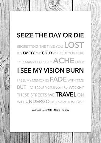Avenged Sevenfold - Seize The Day - Funky Lyric Art Print - A4 Size