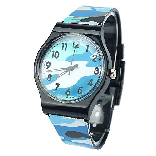 LILIGOD Camouflage Kinderuhr Quarz Armbanduhr für Mädchen Jungen Mode Gummiuhr Faltschließe Kinderuhr Geburtstagsgeschenk Festliche Geschenk Lässig Tägliche Uhr Camouflage Snap
