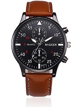 Vovotrade Watch Leather Band Alloy Quartz Wrist Watch (Brown)