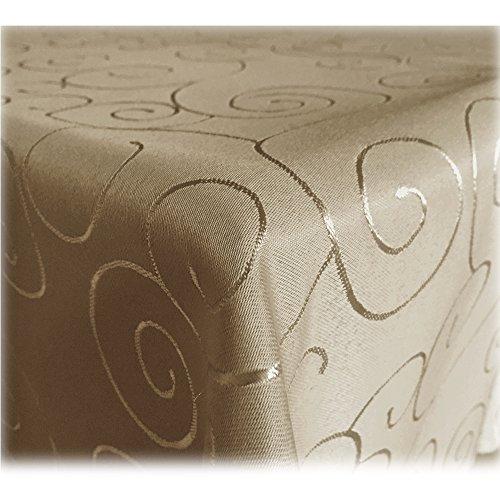 JEMIDI Tischdecke Ornamente Seidenglanz Edel Tisch Decke Tafeldecke 31 Größen und 7 Farben Cappuccino 110x180
