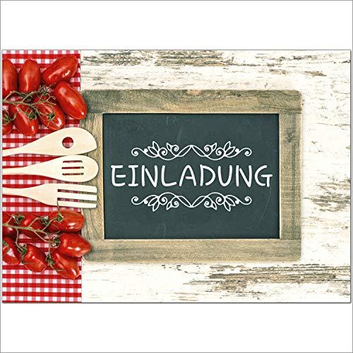 12 x Einladungskarten und 12 Umschläge im Set für jeden Anlass/Kochen/Einladung Geburtstag/Party/Einweihung/Feier/Geburtstagseinladungen Din A6 (Geburtstag Essen)