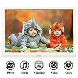 Digitaler Bilderrahmen HD 10 Zoll Full-IPS-Display Elektronischer Bilderrahmen Musik/Video-Player Kalender Wecker automatischer EIN-/Ausschalt mit Fernbedienung