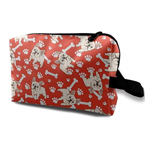 (Bulldog Puppy Bone Cute Pattern Small Cosmetic Bags Travel Makeup Bag Fashionable Organizer For Women Girls)