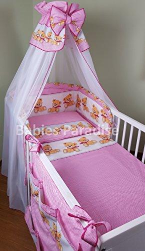 Baby Bettwäsche Set Bär mit Schleife (5 tlg, Rosa)