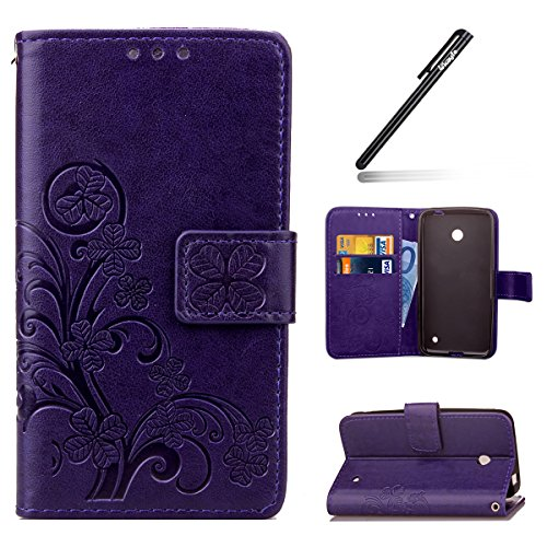 Price comparison product image Microsoft Lumia 635,Nokia Lumia 630 Case,Microsoft Lumia 630 Wallet Case,Leather Flip Case for Microsoft Lumia 630, Ukayfe [Embossing Clover Flower Leaf] Pattern Premium PU Leather Magnetic Flip Case Cover Pouch Protective Case with Card Slot and Strap for Microsoft Lumia 630 / 635 + 1x Black Stylus, Purple