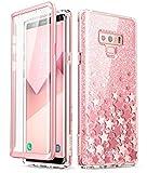 iBlason Coque Galaxy Note 9, Coque Complète Paillette Brillante Bling Bling Glitter Bumper avec Protecteur d'écran Intégré [Série Cosmo] pour Samsung Galaxy Note 9 2018 (Rose)