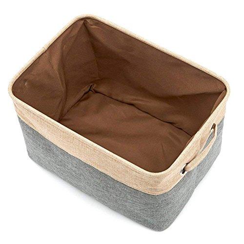 ZZY Faltbare Lagerung Eimer Korb Faltbare Canvas Stoff Tweed Storage Cube Mülleimer Set mit Griff (Magazin-speicher-korb)