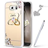 Cover Galaxy S6,Custodia Galaxy S6,Custodia Galaxy S6 Cover,[Supporto ad anello per orso] Fiori di diamanti intarsiati S Crystal Clear Case Super Sottile Bumper Case Custodia Cover per Galaxy S6,Oro