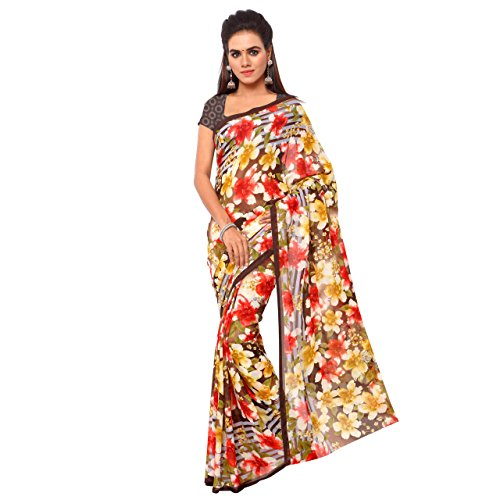 ANAND SAREES YELLOW-RED-BROWN-GREEN GEORGETTE SAREE  available at amazon for Rs.269