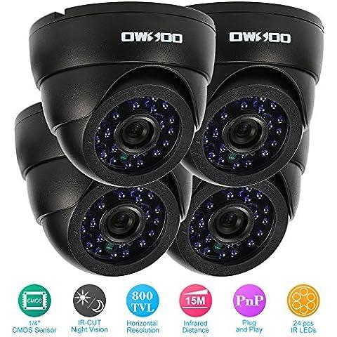 OWSOO 800TVL 4 Cámara Interior de Vigilancia CCTV Seguridad Kit + 4x 60ft Cable 3.6mm 24LEDs IR-CUT Visión Nocturna Plug y Play Giratorio PAL