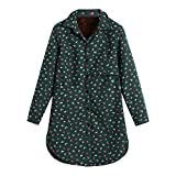TianWlio Jacken Parka Mäntel Damen Herbst Winter Warme Jacken Baumwolle Leinen Winter Warm Plus Samtmantel Folk Custom Outcoat Drucken Jacken Green L