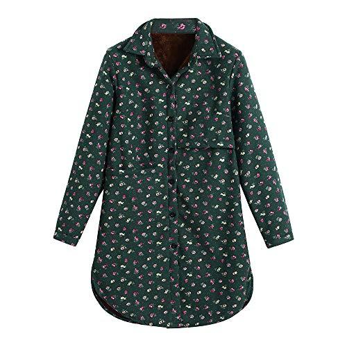 (Luckycat Frauen Baumwolle Leinen Winter Warm Plus Samt Mantel Folk Custom Print Outcoat Jacke Jacken Mäntel Sweatjacke Winterjacke Fleecejacke Steppjacke)