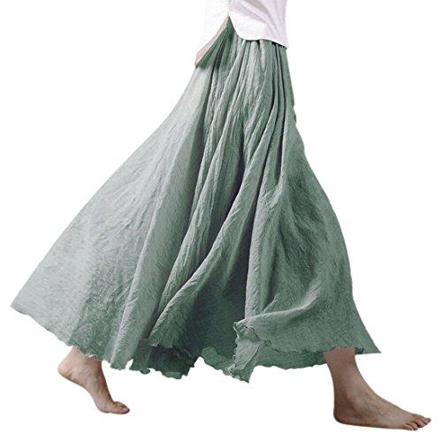 Nlife Frauen böhmische Baumwolle Leinen Double Layer elastische Taille langen Langer RockMaxi Rock- Gr. 95CM, Light Green (Leinen Rock Grünes)