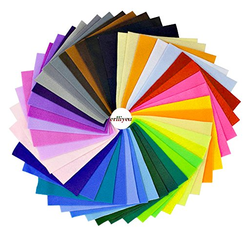 Erlliyeu Multicolore Filz Stoff DIY Handgefertigt Polyester Bastelfilz 42 Farben (20*30cm)
