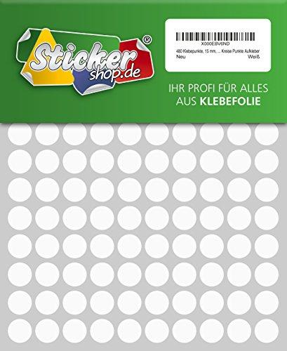 480Sticky Dots, 15mm, color blanco, de PVC, resistente a la intemperie, codificación Dots, círculos, puntos, pegatinas
