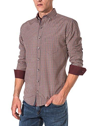 Karohemd von Vegea (VG0025LS) | Kariertes Hemd im Slim Fit Schnitt für Herren | Trendige Herrenmode für Freizeit und Büro | Bequeme und hochwertige Langarm-Shirts mit Karomuster | Größe XL | Rot/Beige (Brusttasche Punkt-kragen-hemd)