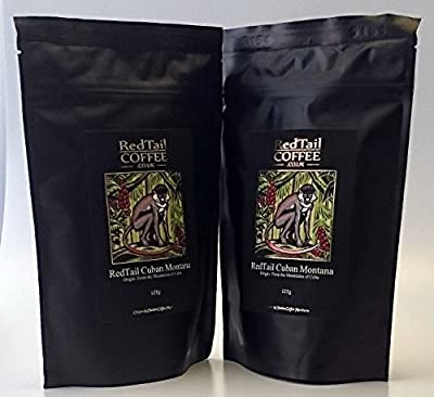 RedTail Cuban Montana Whole Bean Coffee - 250g (2 x 125g bags) - From the Mountains of Cuba from RedTail Coffee