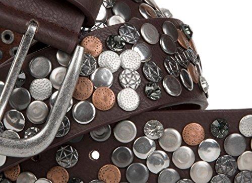 StyleBREAKER style vintage en cuir véritable design strass et rivets différents 03010051 réglable, pour femme Marron - Marron foncé