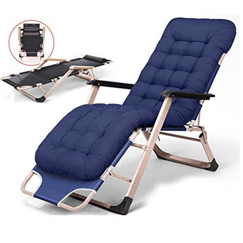 Klappstuhl Recliners Stühle Für Erwachsene Mit Kissen Outdoor Camping Terrasse Strand Rasen Travle Zero Gravity Lounge Chair, 200kg (Farbe : Blau)