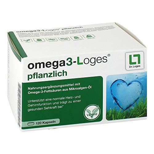 omega3-Loges pflanzlich mit Omega3 - 120 Kapseln, unterstützt die Herz- und Gehirnfunktion