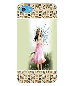 PrintDhaba Umbrella Girl D-2619 Back Case Cover for APPLE IPHONE 5C (Multi-Coloured)