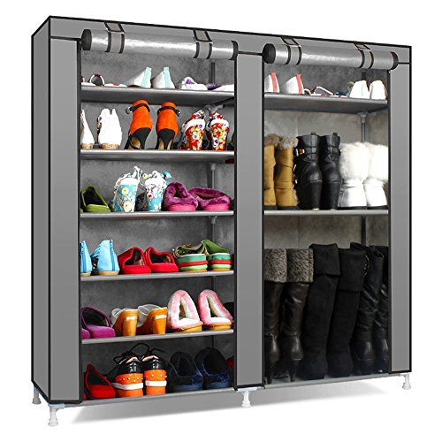 Styleys Folding Shoe Rack With Cover And Capacity Of 24-30 Pairs Shoe (Grey)