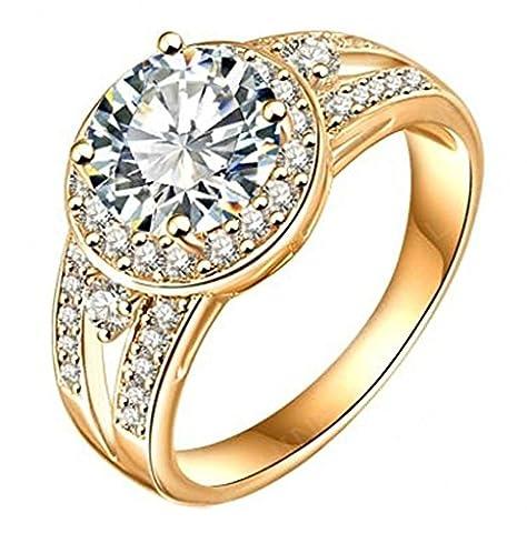 AMDXD Schmuck Damen Ringe 18K Rose Gold Vergoldet Ring Mit Österreich Kristall Frauen Ehering