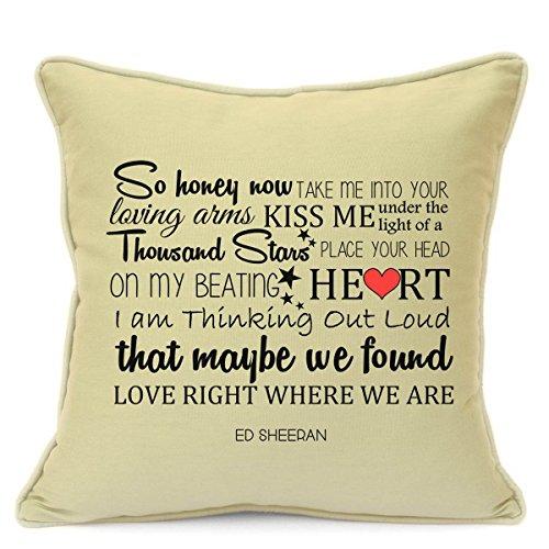 Ed sheeran thinking out loud copricuscino con canzone d'amore, regalo per lui/lei, marito/moglie, fidanzata/fidanzato, san valentino, anniversario di matrimonio, regali, 45cm / 18