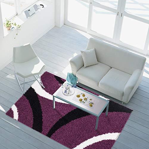 Creme Grüne Rechteck Teppich (carpet city Teppich Shaggy Hochflor Langflor Wohnzimmerteppich Schlafzimmer Streifen-Muster 4, Größe in cm:200 x 290 cm, Bogen:Bogen lila schwarz Creme)