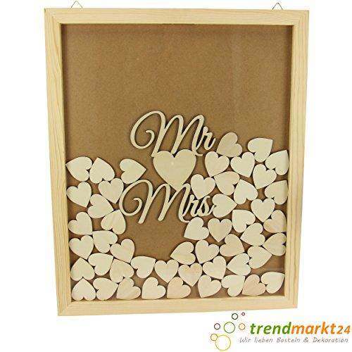 hmen-Gäste-Buch Set MR und Mrs 50 Holz-Herzen Holz-Bilder-Rahmen Gästebuch Hochzeits-Geschenk basteln Hochzeitstag Erinnerung Originell Hochzeits-Erinnerungen 74149025-A ()