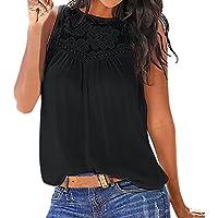 OHQ_Camisetas Mujer Verano Blusas Tops De Encaje Cosido Tops Estampado De Chaleco Hueco Chaleco De Verano
