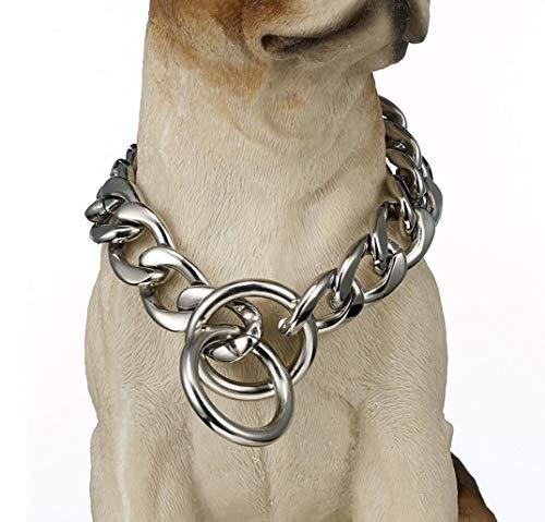 19Mm Hundehalsband Hundekette P Kette Silber Edelstahl Titan Stahlkette Verblasst Nicht 12-30 Zoll,18INCM