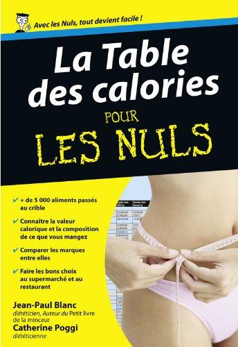 La table des calories pour les nuls par Jean-Paul Blanc