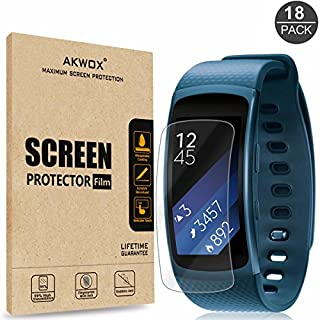 [18-Pack] Samsung Gear Fit2 Screen Protector, AKWOX Full Coverage Screen Protector for Samsung Gear Fit2 (Gear Fit 2) HD Clear Anti-Bubble Film - with