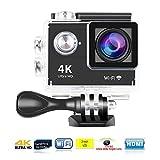 Yuntab Ultra HD 4K Action Camera H9 videocamera sportiva impermeabile per riprese in timelapse - WiFi Camera, Lente Grandangolo 170°,Full HD 1080P mersioni Sub per swimming, Bicicletta e Sport Estremi 1 batteria e un caricatore Nero