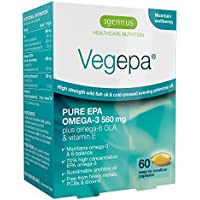 Vegepa Omega-3-6 Supplement, 800mg Wild Fish Oil with Virgin Evening Primrose Oil, 560mg Omega-3 EPA per serving, 60 Capsules