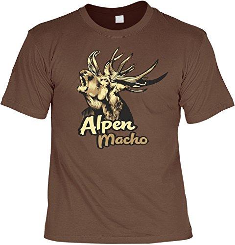 T-Shirt - Röhrender Hirsch - Alpen Macho - lustiges Sprüche Shirt für Trachten Fans mit Humor - Geschenk Set mit Funshirt und Minishirt