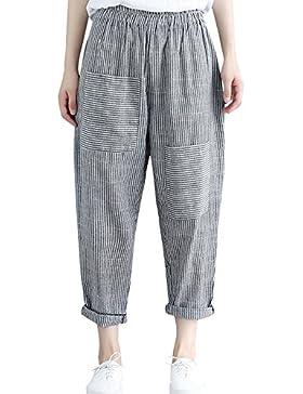 DOGZI Mujer sólido Suelto Casual Pantalones Harem Pantalones elásticos Cintura hasta el Tobillo Pantalones Lino...