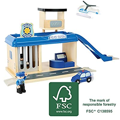 Small Foot 10899 Police Station Natural 100% FSC-Certified Wood, with helipad and car ramp, Parking Deck, Prison Cell, incl. Accessories Toys, Multicolored