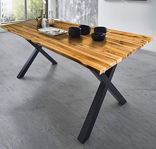 SAM Baumkantentisch 180x90 cm Placido, massiver Esszimmertisch, Akazienholz, echte Baumkante, Schwarze X-Beine aus Metall