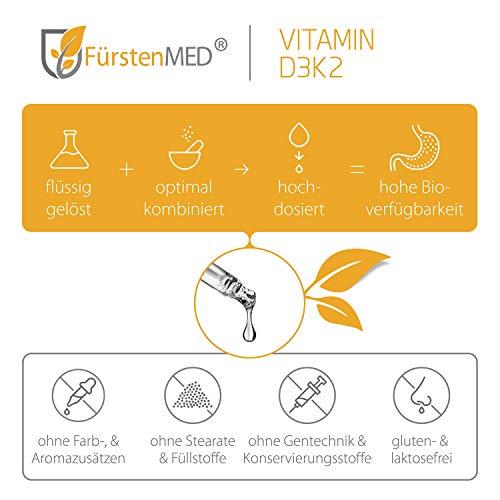 FürstenMED® Vitamin D3 K2 Tropfen Hochdosiert – 50ml – 1250 Tropfen in MCT Öl auf Kokosbasis – Aus Deutschland & Ohne Zusatzstoffe