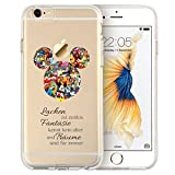 Cartoon Movie Character Fan Art CLEAR Hybrid Cover Case for iPhone Range-iPhone 7 Plus (5.5)-Mickey Mouse Disney Quote (
