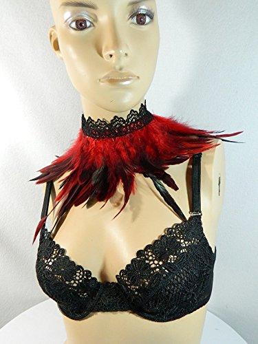 n rot Choker Kropfband Kette Vogel Kostüm Gothic Karneval (Girls Gothic Kostüme)