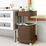 #3: Klaxon Laundry Basket – Plastic Laundry Basket - Cloth Storage Basket / Movable Laundry Basket / Washing Clothes Basket – Brown