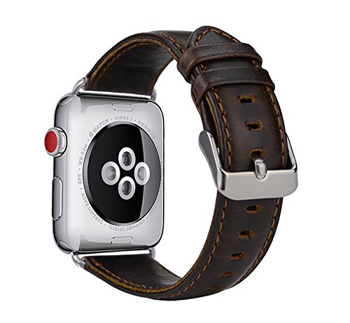 MroTech Armband für Apple Watch, Leder Armband Vintage Echtleder Uhrenarmband für iWatch Series 1, Series 2, Series 3, Apple Watch Sport Edition und Nike+ (42mm, Retro-Kaffee) (Behandeln Apple)